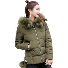 2017 Women Winter Big Fur Hooded Collar Coat Female Outerwear Ladies Warm Basic Jacket Slim Thick Loose Cotton-Padded Coat