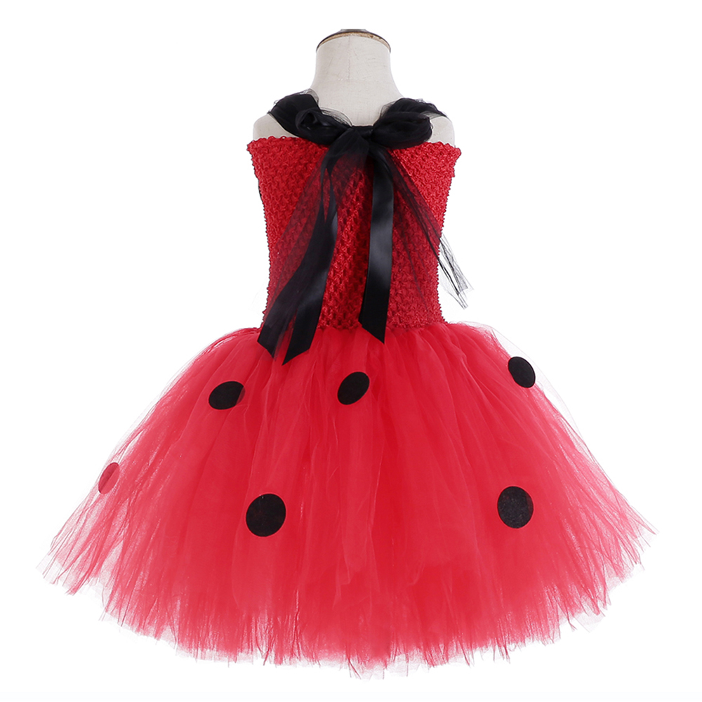 Red Ladybug Party Tutu Dress Kids Clothes Spring Knee Length Black Dot Dress Halloween Ladybug Costume with Ladybug Mask Bag 12Y (5)