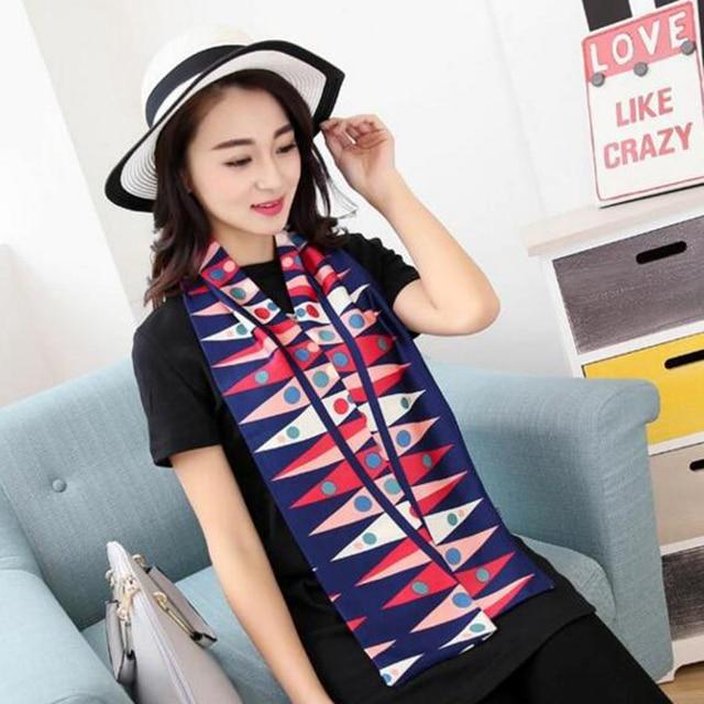 Elegant Fashion All-match Women Silk Satin Scarf OL Office Style Business Printed Korean Style Scarfs Shawl Colorful Gifts Lady