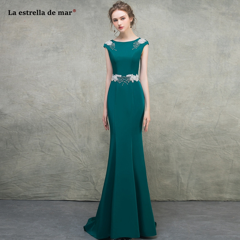 Abito Damigella Donna2019 New Scoop Neck Satin Crystal Cap Sleeve Teal Green Sexy Mermaid Bridesmaid Dresses Trailing