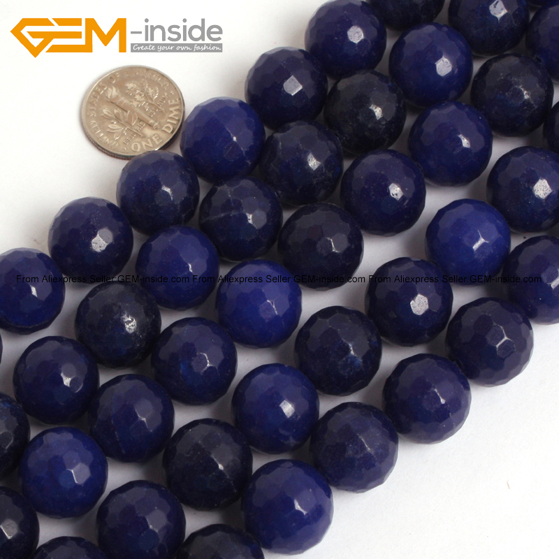 Bule Jades (lapis lazuli color) Beads For Jewelry Making 14mm 15inches DIY Jewellery Fre ...