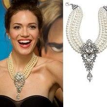 Лучшее женское Европейское ожерелье с большими каплями, модное ожерелье с искусственным жемчугом, женское ожерелье с длинной цепью, ювелирное изделие 9406