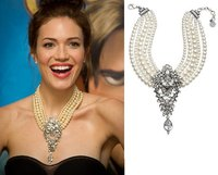 2014 European Big Drop Necklace Fashion Crystal Pearl Korea Exaggerated Women Multi Clavicle Long Cliain Jewelry9406
