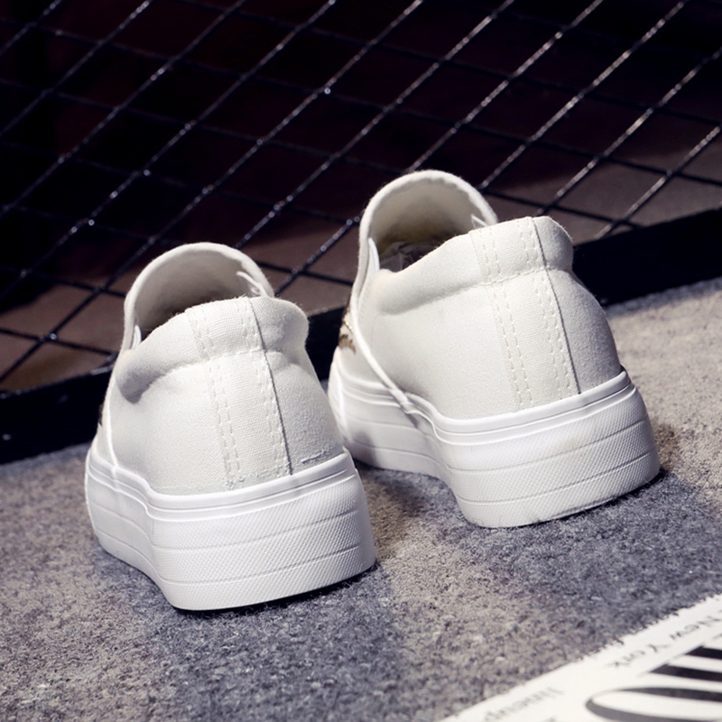 Asperges Glissement Chaussures Toile Rivet Slipony 2018 Sur Confortable Causal Fond Appartements Femmes Épais 2 1 T1wddq0