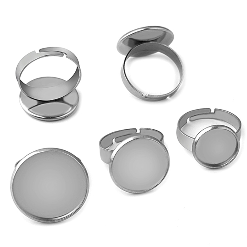 10pcs Stainless Steel Adjustable Blank Ring Base Fit 10 12 14 16 18 20 25mm Glass Cabochons Tray Diy Jewelry Making Ring Finding