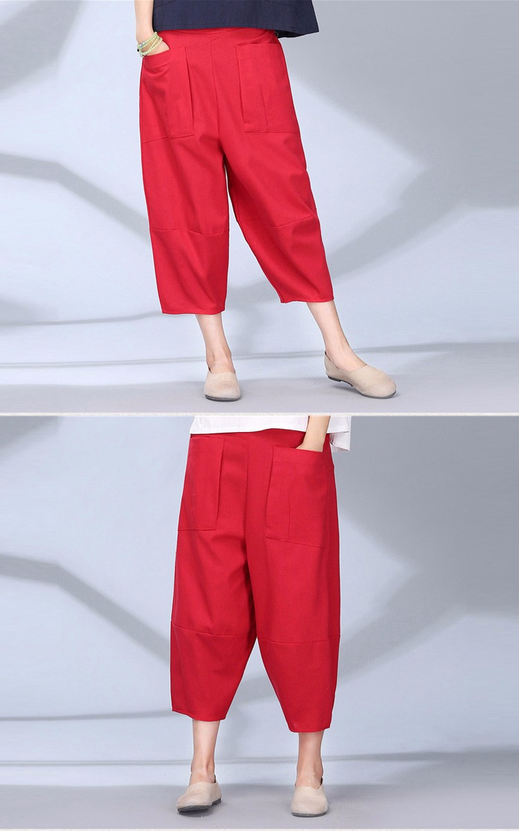 women calf length linen pants wide leg pants elastic waist sport pants casual loose solid trousers for women plus size L-2XL A10 b