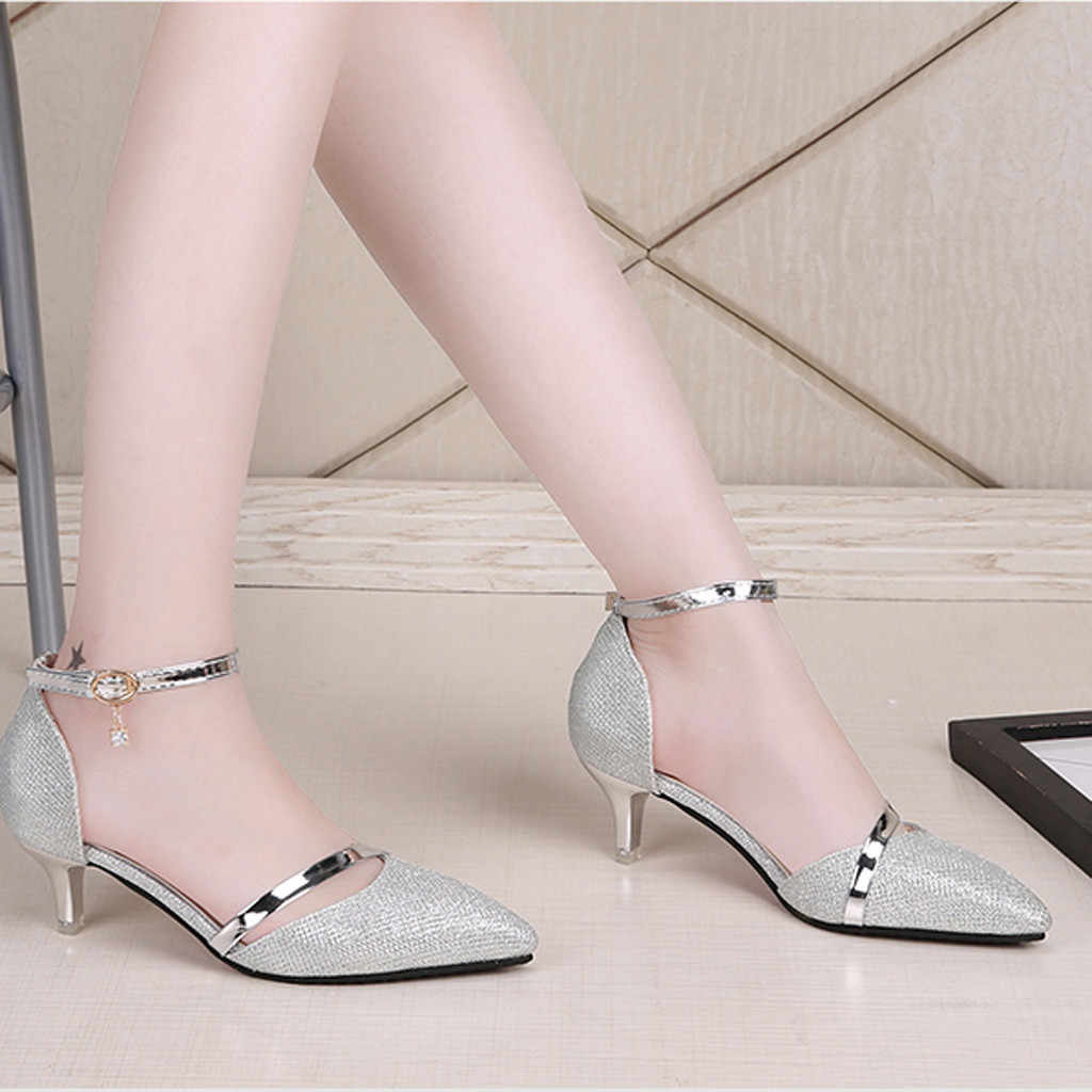SAGACE Sandals Summer Women Lady Bright Leather Pointed Toe High Heels Female Wild Stiletto Buckle Strap Sandals Dropship May15
