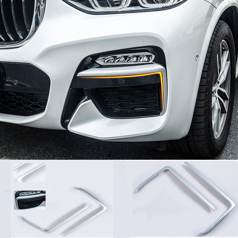 Fit For BMW X3 G01 2018 2019 ABS Matte Front Fog Light Lamp Cover Eyebrow Eyelid Garnish Streamers Outer Foglight TrimFit For BMW X3 G01 2018 2019 ABS Matte Front Fog Light Lamp Cover Eyebrow Eyelid Garnish Streamers Outer Foglight Trim