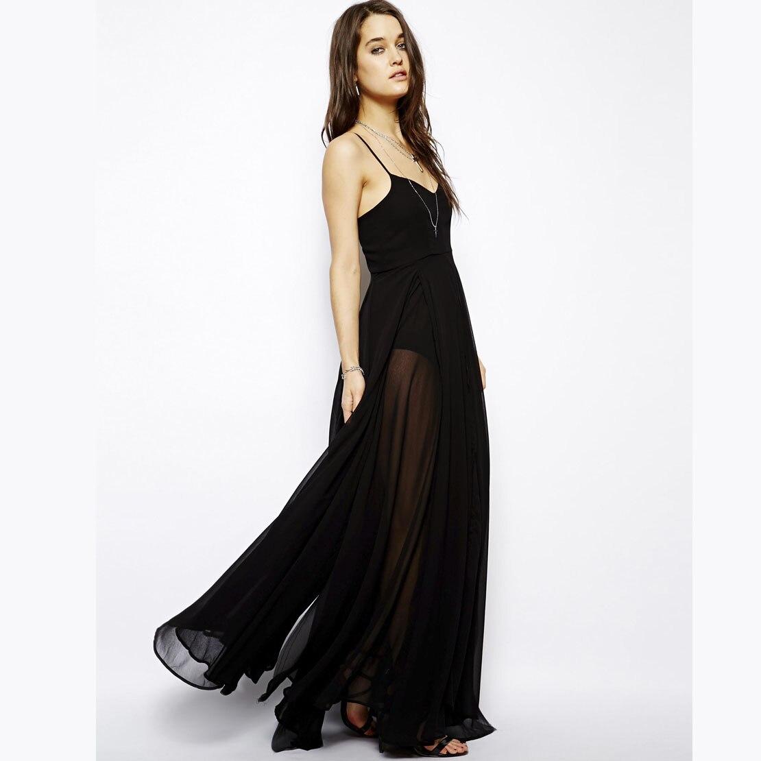 7706608bfe Black spaghetti strap dress perspectivity lining long design Floor-length  dress one-piece dress