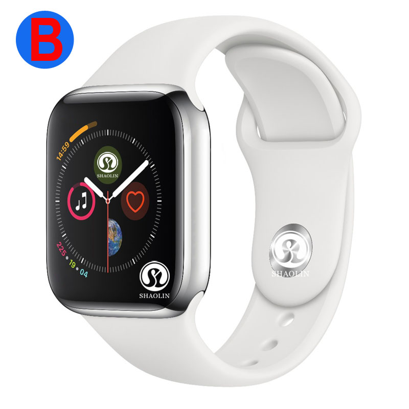 B montre connectée Série 4 homme femme Bluetooth SmartWatch pour Apple iOS iPhone Xiaomi téléphone intelligent android (bouton rouge)