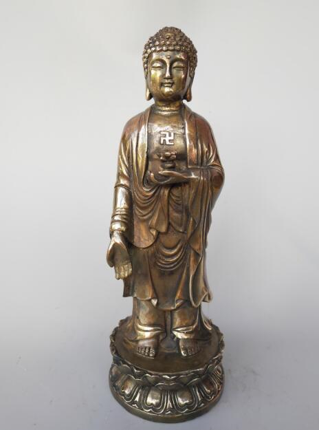 Chinas pure brass sakyamuni standing Buddha statueChinas pure brass sakyamuni standing Buddha statue