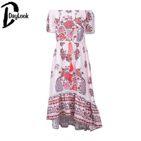 DayLook Bohemia Style Summer Dress Off Shoulder Chic Vintage Floral Print Elegant Maxi Dress Women Asymmetrical