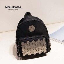 MOLJEAGA новый импорт водонепроницаемый нейлон и Кожа Заклепки Мозаика черный рюкзак модный бренд сумки женщина мода сумки