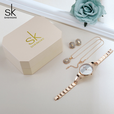 Shengke Rose Gold Watches Women Set Luxury Crystal Earrings Necklace Watches Set 2019 SK Ladies Quartz Watch Gifts For Women Lahore