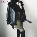 RZIV autumn and winter women jacket coat casual belted leather jacket fur loose style casual coat punk outwear