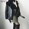 RZIV outono e inverno as mulheres casaco jaqueta casual jaqueta de couro com cinto casaco de pele solta estilo casual punk outwear