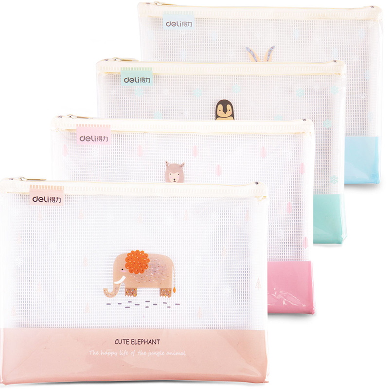 DELI Transparent Document Bag Mesh Grid File Folder Pupil Kawaii Cartoon Grid Stationery Bags PVC School Office Filing Supplies