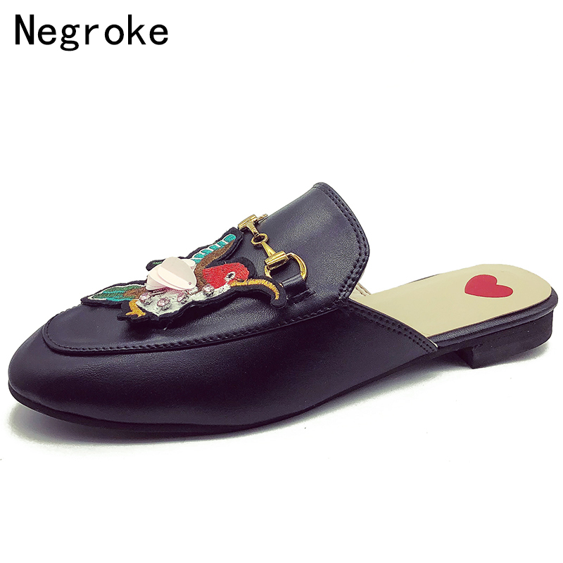 55ee3f3afa7c23 Summer Retro Leather Slippers Women Applique Mules Horsebit Loafers Slip On Flat  Sandals Black Ladies Shoes Woman Zapatos Mujer