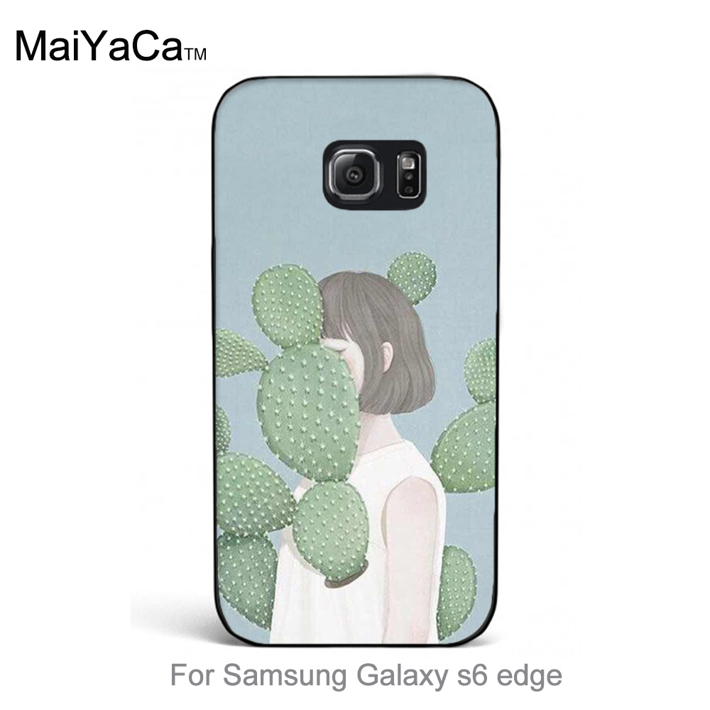 Phone Accessories Protector Cover special case for galaxy s6 edge Cute Cartoon Flower Cactus Girl Fashion Colorful