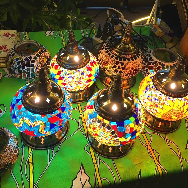 Türk mozaik lambaları düğün dekor için yatak odası oturma odası türk mozaik masa lambaları el yapımı abajur cam mozaik lamba