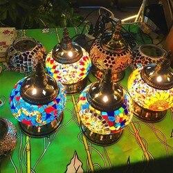 Turecka lampa mozaikowa s na dekoracje weselne sypialnia salon turecki mozaika lampa stołowa ręcznie klosz szklana lampa mozaikowa w Lampy stołowe LED od Lampy i oświetlenie na
