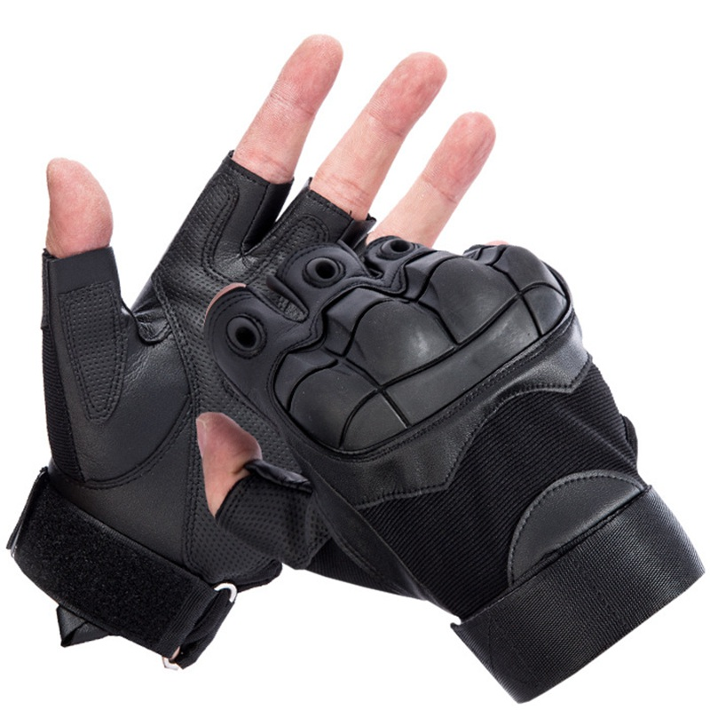 [JQIHWLS]Out Door Tactical Gloves Military Armed Combat Fingerless Airsoft Shooting Paintball Gear Carbon Knuckle Half Finger