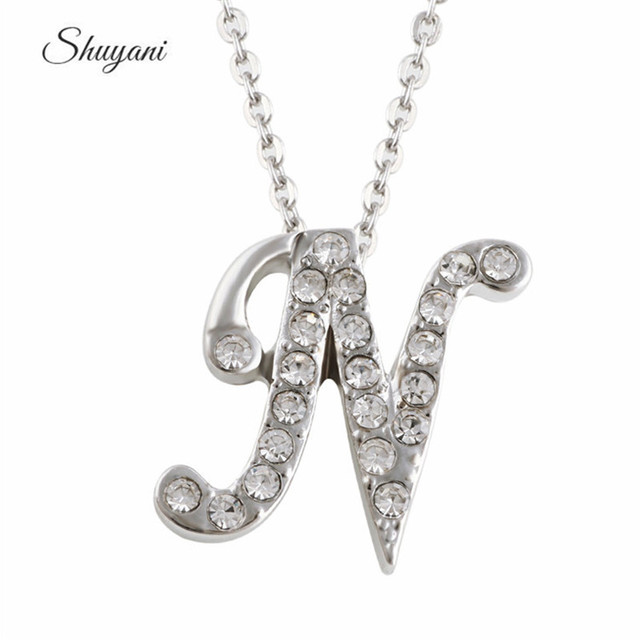 2016 fashion design silver plated crystal rhinestone initial 2016 fashion design silver plated crystal rhinestone initial alphabet n pendant necklaces aloadofball Gallery