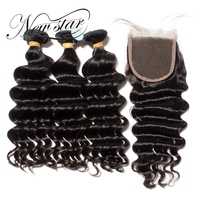 NEW STAR Loose Deep 3 Bundles With Closure Brazilian Virgin Human Hair Extensions 4x4 Free Style Part Natural Color Weave