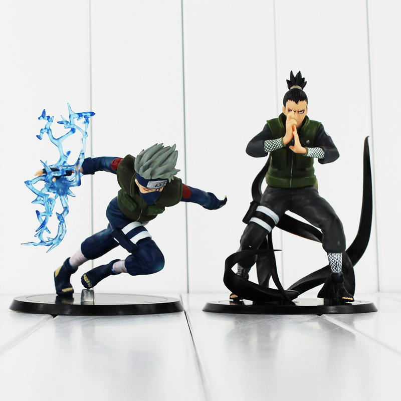 2Styles Anime Naruto Nara Shikamaru Hatake Kakashi PVC Figure Collectible Model Toy Free Shipping 12-15cm original box anime naruto action figures lightning blade hatake kakashi figure pvc model 12cm collection children baby kids toys