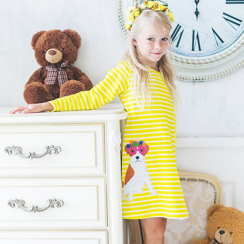 все цены на Long Sleeve Girl Dress with Animal Applique Baby Girls Clothes Children Princess Dress for Party Wedding Kids Dresses for Girls