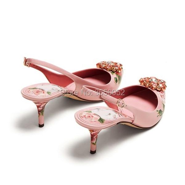 Talons Luxe Cuir Pic as Slingback Pompes En As De Clair Rose Cristal Tacones Sexy Dames Chaussures Fleur Marque Mariée Pic Imprimer Qianruiti Hauts xP1wBE8w