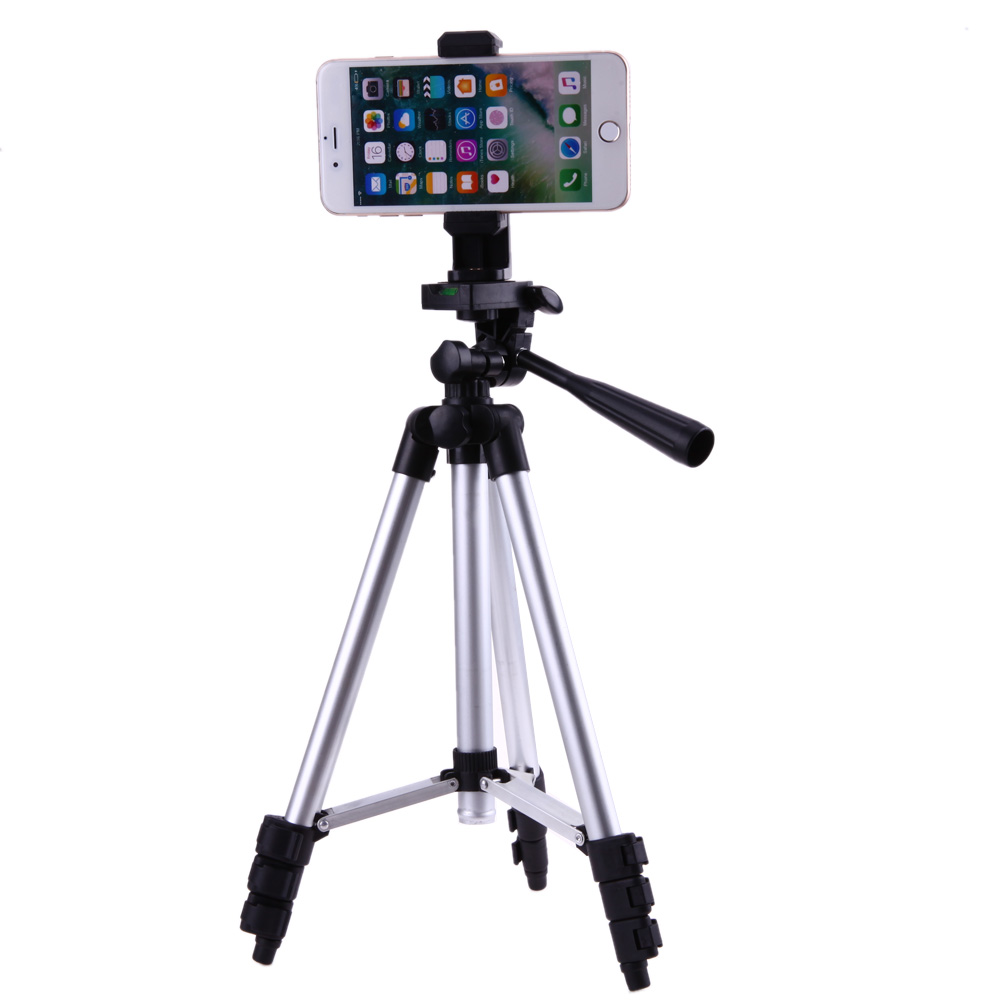 Professional Mobile Phone Tripod Stand Holder Camera Adjustable Aluminum Tripods Bracket 1/4 Screw Mount Adapter with Phone Clip 360 degree rotation chuck cell phone holder mount bracket adapter clip with 1 4 screw for 54mm 102mm phone vertical