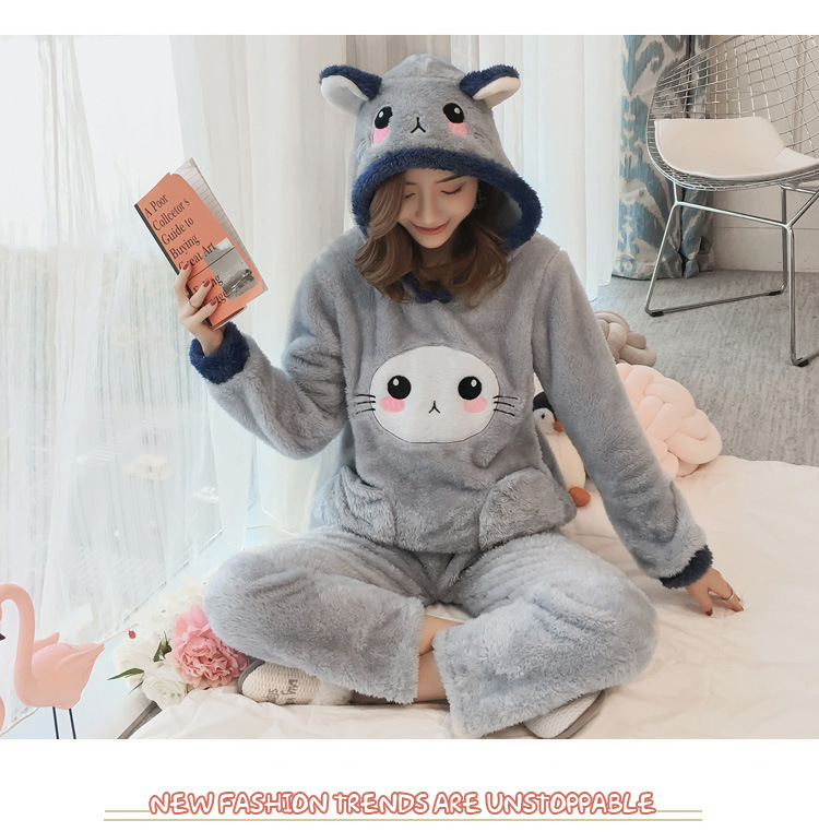Winter Women Pajama Flannel Sleepwear Long Sleeves Hot Pajamas For Women Velvet Pajama Women Soft Clothing 84