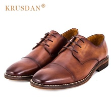 KRUSDAN Luxury Formal Man Derby Dress Shoes Genuine Leather Cap Top Handmade Oxfords Round Toe Men's Bridal Wedding Flats