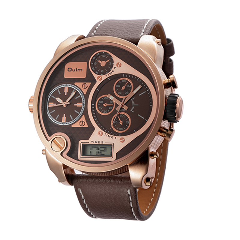 Oulm Watches Male Big Size Case 2 Time Zone Casual Display Sports Quartz Watch Unique Design Mens Leather Watch reloj hombre 2018 new arrival top brand oulm 3548 mens 5 5cm big face watches 2 time zone casual quartz watch montre homme de marque grande