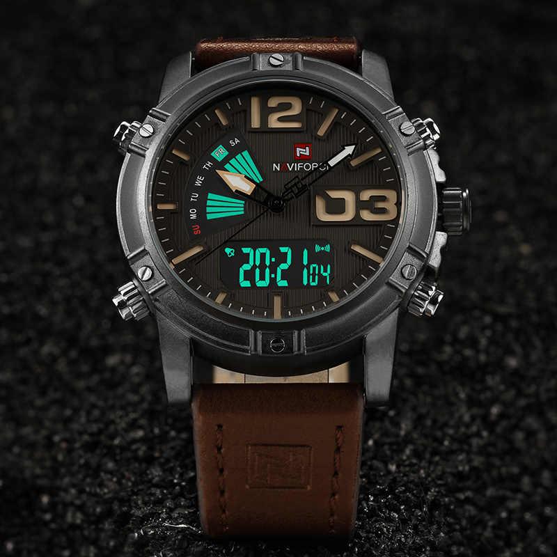 NAVIFORCE мужские модные спортивные часы мужские кварцевые аналоговые часы с датой мужские кожаные военные водонепроницаемые часы Relogio Masculino 2018