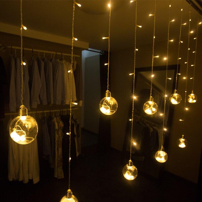 Bombilla LED, cadena de bolas, cortina de luz, mando a distancia, San Valentín, Navidad, ventana, decoración de boda, luces de cadena conectables