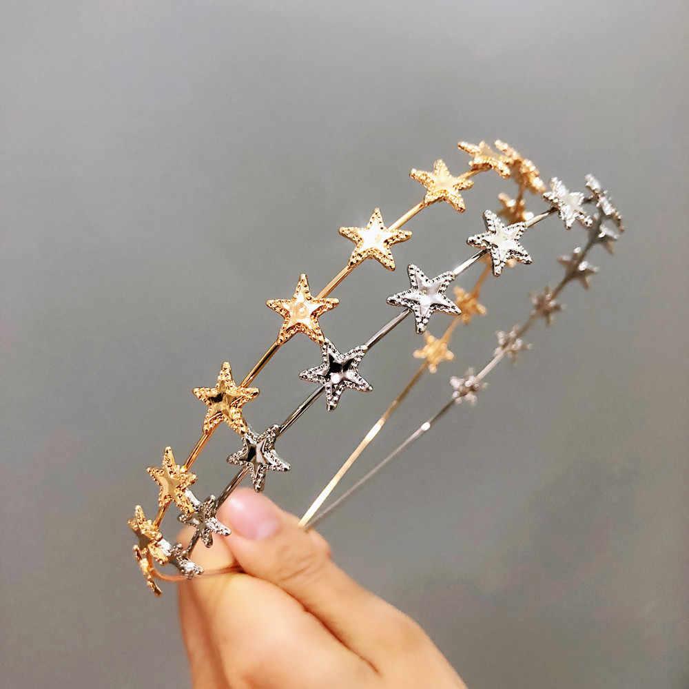 2019 New Fashion Women Gold Silver Metal Pentagram Star Hairbands Geometric Thin Headbands Elegant Headdress For Daily Party