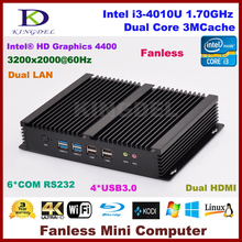 Fanless pc Intel Core i3 4010U mini pc 4G RAM+128G SSD, Dual lan,2 HDMI 6 COM rs232,WiFi,Windows 10