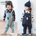 Retail 2017 Spring style Lovely Small Bear face Overalls Loose Bib Strap Haren Unisex Baby Leisure pants Free Shipping