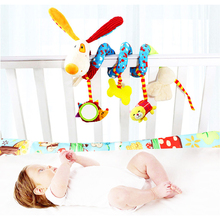 Newborn font b Baby b font Cute Plush Bed Stroller Cartoon Dog Hanging Toy Infant Rattle