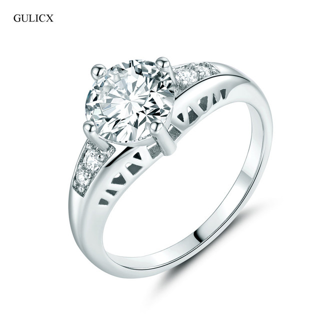 GULICX 2017 Cheap Fashion  White Gold-color Ring Crystal CZ Zirconia Her Engagement Ring Jewelry Wedding Ring for Women R120