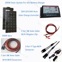 200 Вт полностью солнечной системы 2 шт. гибкие солнечные панели 100 Вт 1 комплект солнечный регулятор и Солнечный Кабель DIY Kit для 12 В батареи
