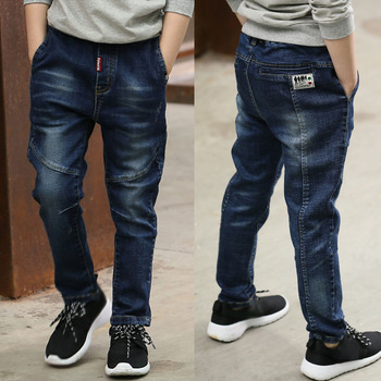 DIIMUU 5-13Y Boys Slim Straight Jeans Young Casual Trousers Kids Baby Children Fashion Denim Long Pants Elastic Waist