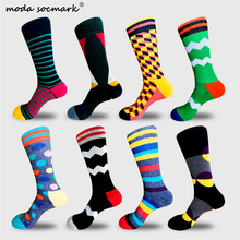 Moda Socmark Brand Happy Socks Men Street 2019 New Arrival Fashion Geometry Pattern Funny Cotton Winter Long