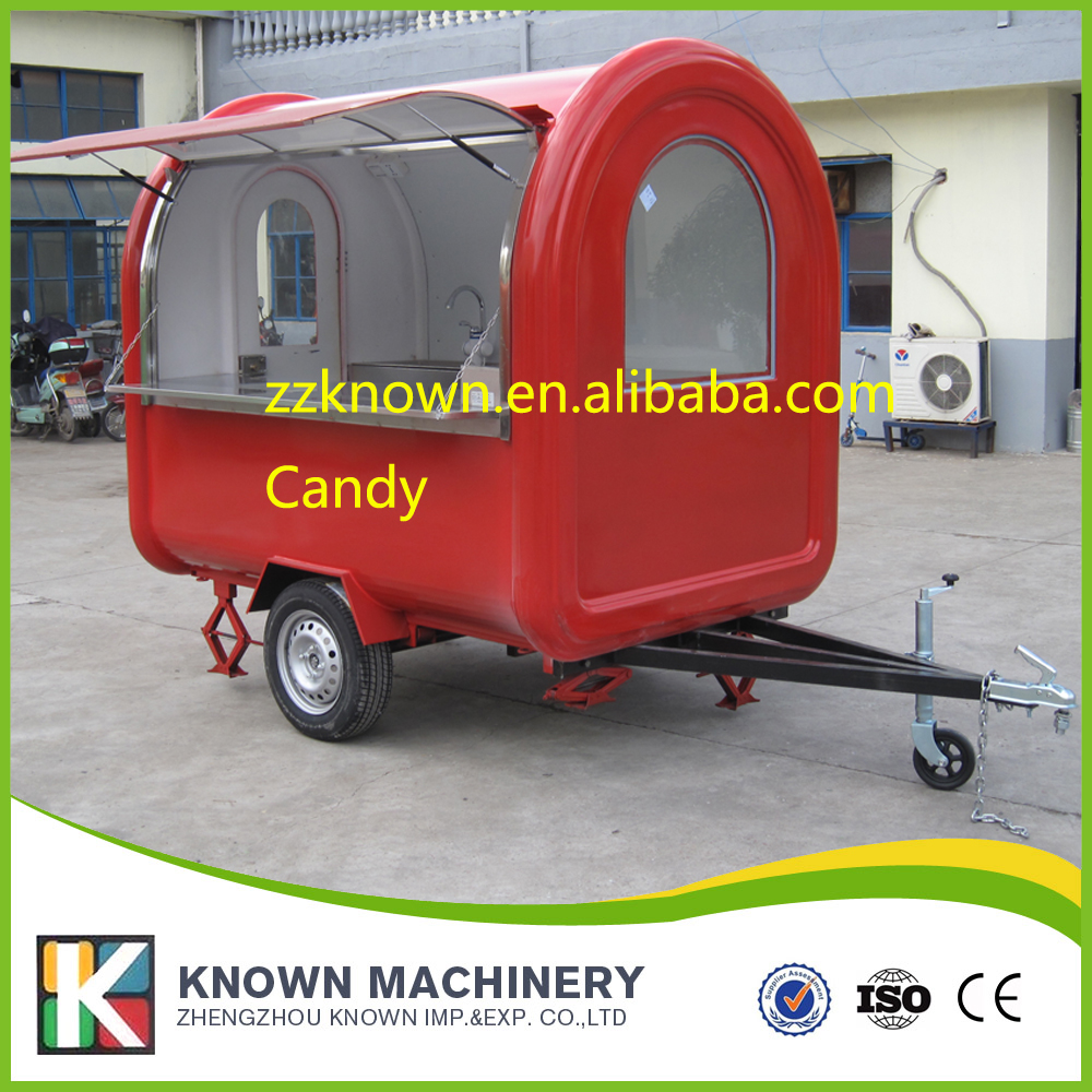 High quality 2 big wheels food trailer mobile food cart fast food truck free shipping by sea fast food leisure fast food equipment stainless steel gas fryer 3l spanish churro maker machine