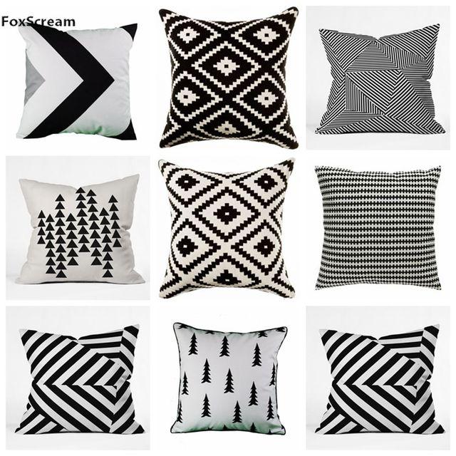 Nordic Style Decorative Pillows Case Velvet Geometric Cushion Cover Home Yellow Gray Pillowcase Sofa Black White