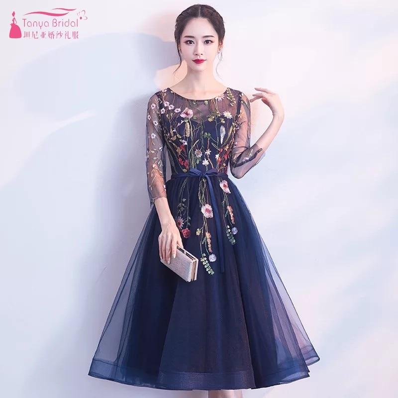 Navy Blue Embroidery Prom Dresses Simple Elegant Style Abiye Gece