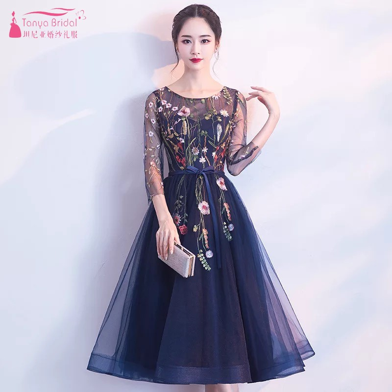 Navy Blue Embroidery   Prom     Dresses   Simple Elegant Style abiye gece elbisesi In Stock Evening Formal Gown DQG350 Real   Dress