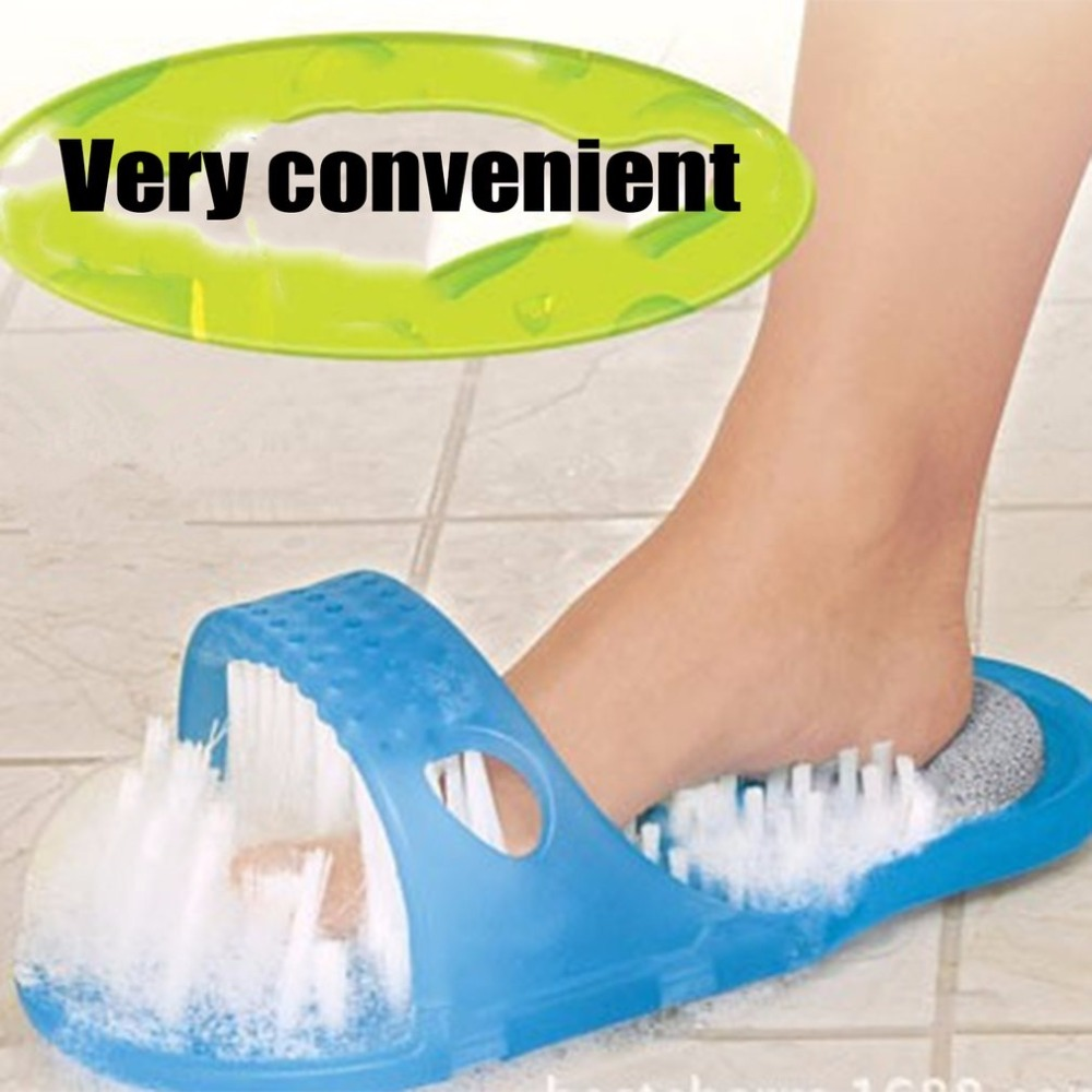 1pcs Bath Shoes Brush Shower Foot Feet Cleaner Scrubber Washer Health Care Household Bathroom Stone Mager Slipper Blue
